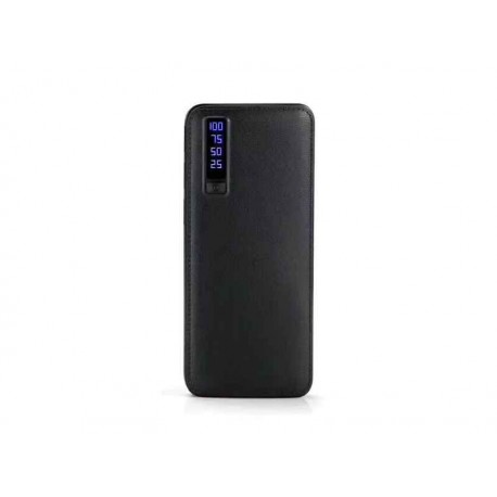 Batterie externe avec torche LED 20000mAh LEATHER DESIGN 3x USB (Noir)