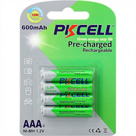 Lot 4 pièces 1.2v AAA, 600mAh pile rechargeable